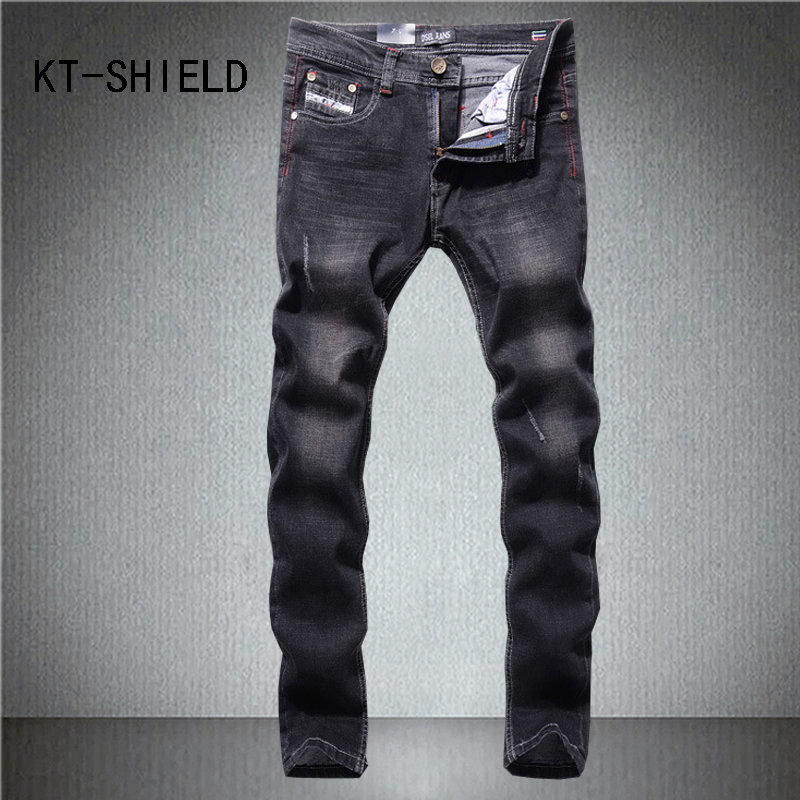 Fashion Holes ripped jeans pants Mens Slim Black full length Elastic Skinny Casual denim trousers hombre biker Hip hop vaqueros mens casual elastic ripped drape denim hip hop slim fit distressed biker jeans pants black straight pencil trousers multi zipper