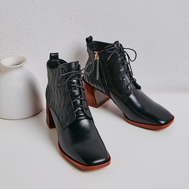 MLJUESE 2020, botines suaves para mujer, botas de cuero de vaca con cordones, botas cortas de invierno de felpa de punta cuadrada, botas de tacón alto para mujer Zapatos casuales de cuero genuino para hombre, mocasines de marca de lujo para hombre, zapatos planos transpirables deslizantes en negro, zapatos de conducción de talla grande 38-47
