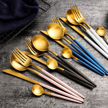 Reusable Matte Black/ White/ Pink/ Rose/ Gold Cutlery Set Stainless Steel Dinnerware Dinner Fork Spoon Knife  Tableware