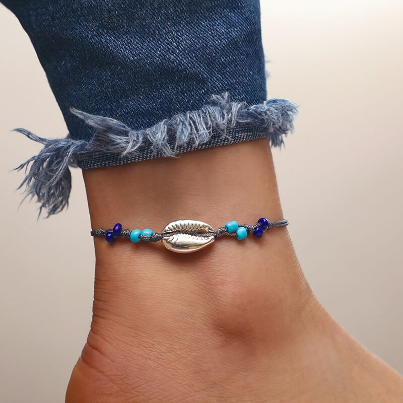 2019 Europe And America New Jewelry Fashion Simple Gray Wire Rope Beads Alloy Shell Anklet Boot For Women Accessories Wholesale