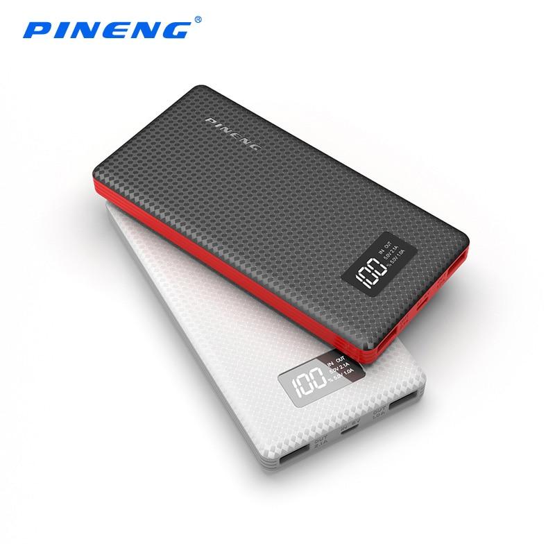 Цена за Оригинальный pineng power bank 10000 мАч Dual USB LCD зарядное устройство мобильного полимер Внешнее зарядное устройство Powerbank для iphone7 6S Xiaomi
