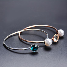 Silver Plated Imitation Pearl Open Bangles Women Crystal Cuff Bracelet Cubic Zirconia Rhinestone Charm Jewelry Adjustable