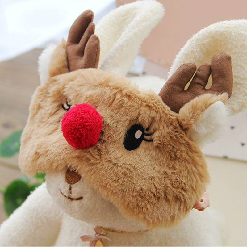 Cute Animal Sleep Eyeshade Toy Mask Cartoon Blindfold Eye Christmas Deer Soft Cover Girl Kid Teen Traveling Sleeping Eye Aid