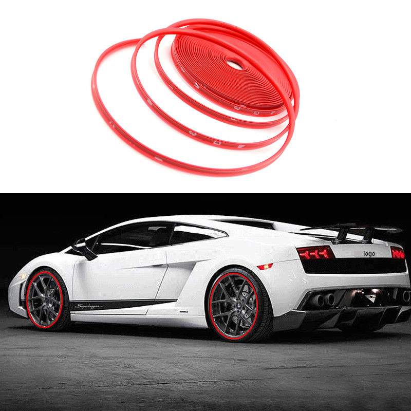 2018 26FT Red Car Wheel Hub Rim Trim Tire Ring Guard Rubber Strip Protector Decor font