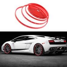 2018 26FT Red Car Wheel Hub Rim Trim Pneumatico Anello di Guardia Striscia di Gomma Protector Decor Parti Esterne Styling Cornici