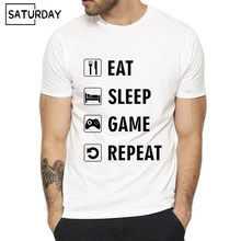 27737eed Men Eat Sleep Game Repeat Gamer Print Funny T-shirt Summer Casual Short O-