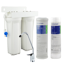 Household Dual Undersink Water Filter System Kitchen Water Treatment 0.5 micron and Activated Carbon