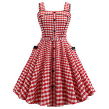 Joineles 60 s Audrey Hepburn Plaid Rosso Delle Donne Retro Vestito Spille Up Cinture Con Tasche E Bottoni Vintage Dress Rockabilly Abito Del Partito abiti(China)