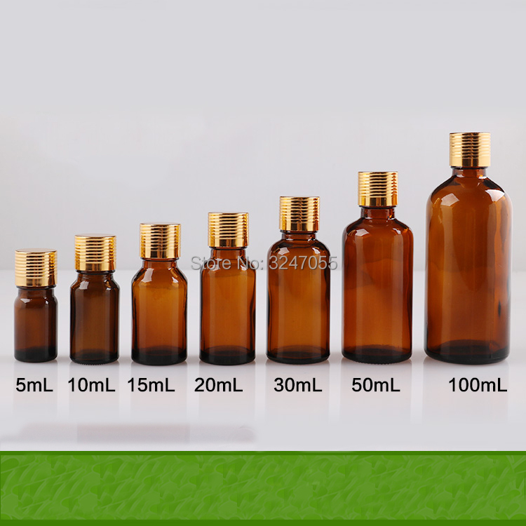 5/10/15/20/30/50/100ml Empty Amber Glass Essential Oil Bottles with Plastic Insert, Brown Vial Containers n Reducer Aluminum lid 100 pcs lot of small glass vials with cork tops 1 ml tiny bottles little empty jars