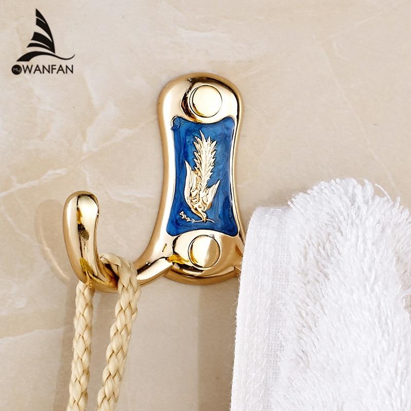 Robe Hooks Dual Hooks Metal Gold Clothes Hook Towel Bag Caddy Hangers Door Hook Wall Mounted Bathroom Accessory Coat Hook B663