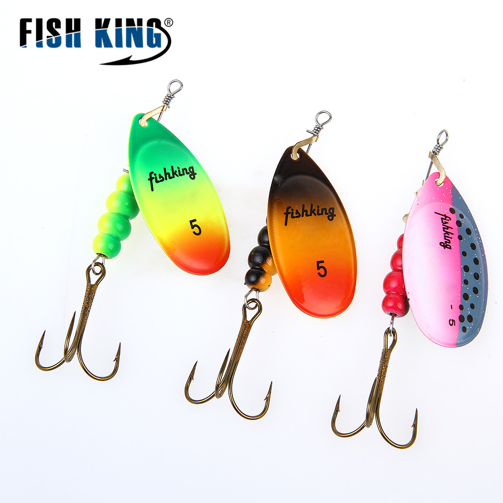 FISH KING 1PC Size0 Size5 Fishing Lure pesca Mepps Spinner bait Spoon Lures With Mustad Treble Hooks Peche Jig Anzuelos
