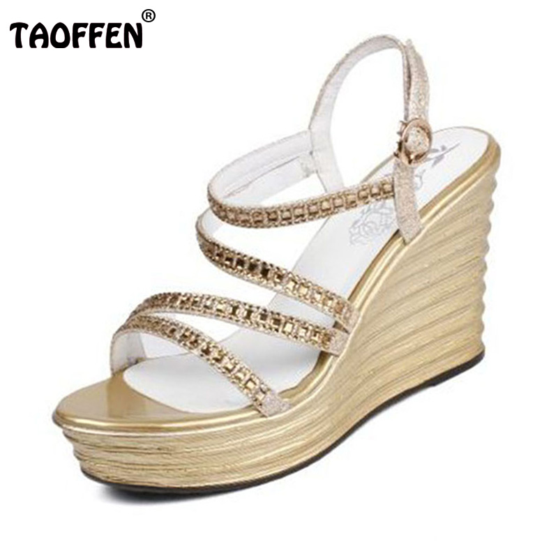 TAOFFEN Sexy Women Real Genuine Leather High Wedges Sandals Summer Vacation Shoes Elegant Party Sandal Women Shoe Size 34-39 stylesowner elegant lady pumps sandal shoe sheepskin leather diamond buckle ankle strap summer women sandal shoe
