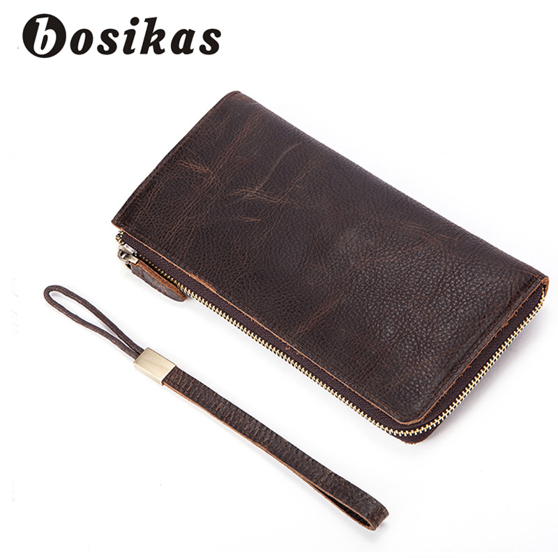 BOSIKAS Crazy Horse Leather Men Wallets Long Zipper Money Purse Man Clutch Wallets Vintage Fashion Leather Men Bag Money Clips