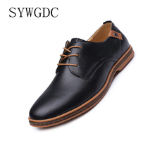 SYWGDC Men Casual Pu Leather Shoes Men Dress Round Toe Lace Up Shoes Comfortable Soft Men Flats Oxfords Business Big Size Shoes dxkzmcm handmade men flat leather men oxfords lace up business men shoes men dress shoes
