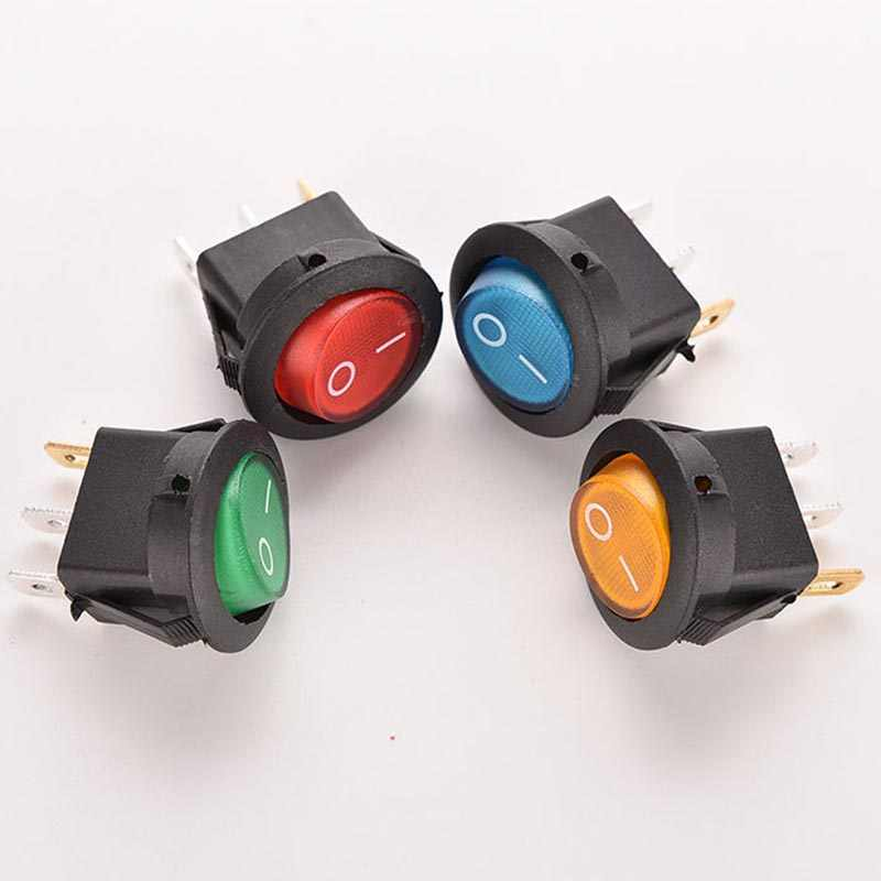 4pcs 12V 16A LED Round Dot Rocker Toggle Switch Car Boat ON/OFF SPST Rocker  Switch with Red Green Blue Yellow Light