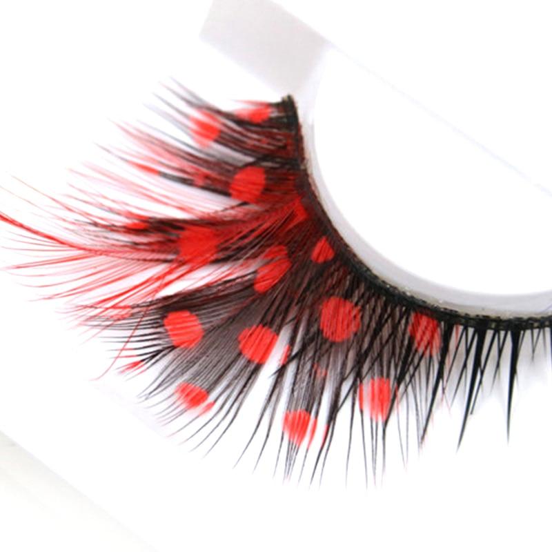 YOKPN Fashion Exaggerated Stage False Eyelashes Red Dot Thick Cross Eye Lashes Winged Makeup Tools Art Feathers Fake Eyelashes