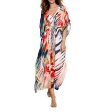 Womens Sexy Deep V-Neck Summer Chiffon Maxi Dress Boho Floral Stripes Patchwork Printed Pullover Bikini Cover Up Belted Drawstri