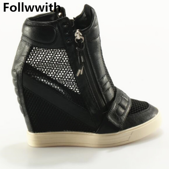 Women Boots Wedge Concealed Heel High Top Platform Ankle Boots Zipper Height Increasing9cm Women Leather Casual Shoes Size34-40 nayiduyun women genuine leather wedge high heel pumps platform creepers round toe slip on casual shoes boots wedge sneakers