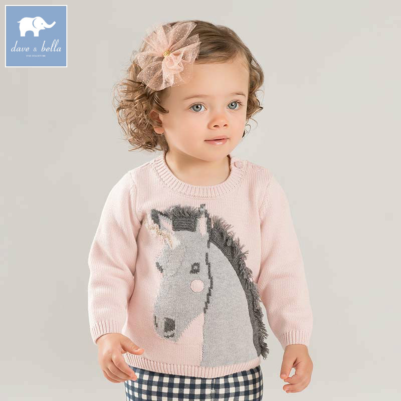 DB8498 dave bella autumn knitted sweater infant baby girls long sleeve pullover kids toddler tops children knitted sweater