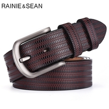RAINIE SEAN Strap Male Belts For Men Genuine Leather Embossed Carved Belt Pin Buckle Coffee Retro Cow Trousers
