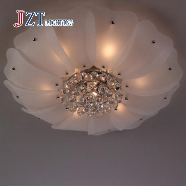 T Luxury Large Circular Lotus Flower Crystal Ceiling Light With LED Bulbs  Modern Simple Creative Indoor