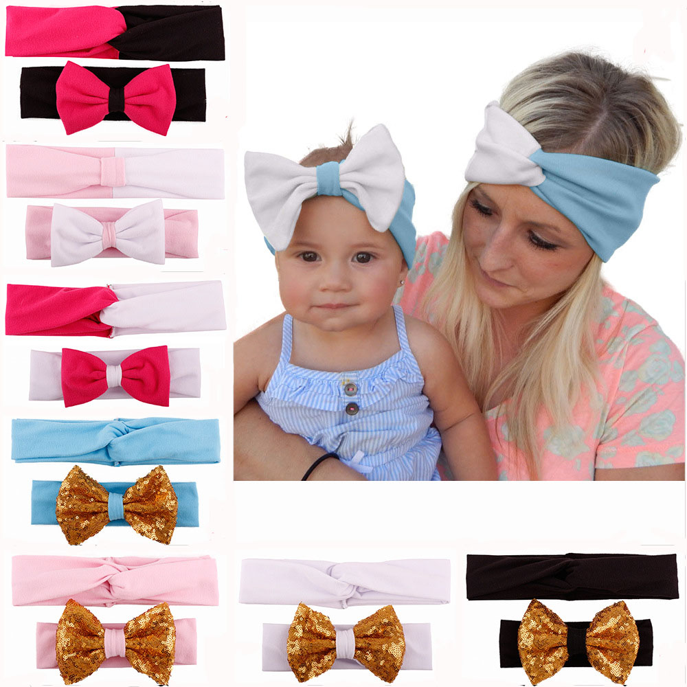 2Pcs/Set Mom And Me Cross Cotton Bow Headbands Elastic Knotted Stretch Hair Band Headwear For Baby Women Accessories 10pcs sweet diy boutique bow headbands elastic head band children girl hair accessories headwear wholesale