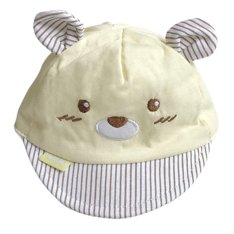 Bear Face Newborn Baby Baseball Cap - Yellow Cap with Brown Stripes