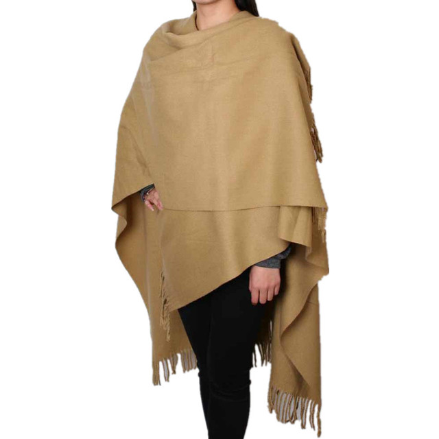 a02f0dad8007a Fashion Camel Women's 100% Wool Pashmina Scarf Winter Thick Cashmere Shawl  Tassels Cape Poncho Solid Color 200 x 70cm