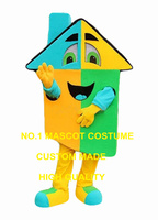 Blue House Villa Mascot Costume For Adult Hot Sale Cartoon Villa House Home Advertising Costumes Carnival