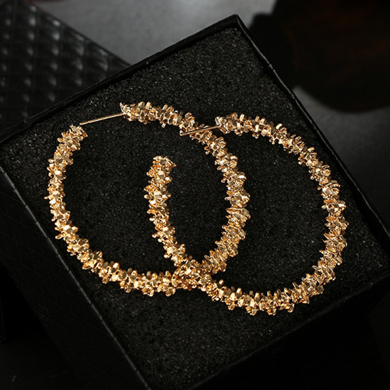New Fashion 2018 Gold Silver Color Geometric Statement Hoop Earring Women Big Circle Round Pendientes Brincos Thorn Oorbellen