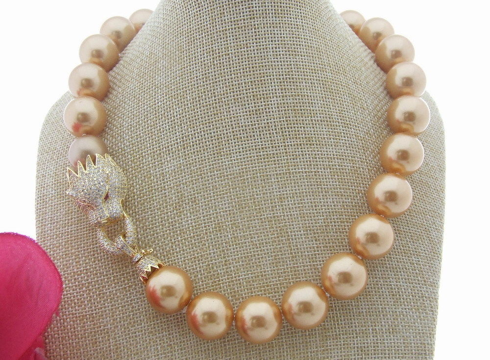 FC050708 20 18mm Round Golden Sea Shell Pearl Necklace CZ ClaspFC050708 20 18mm Round Golden Sea Shell Pearl Necklace CZ Clasp