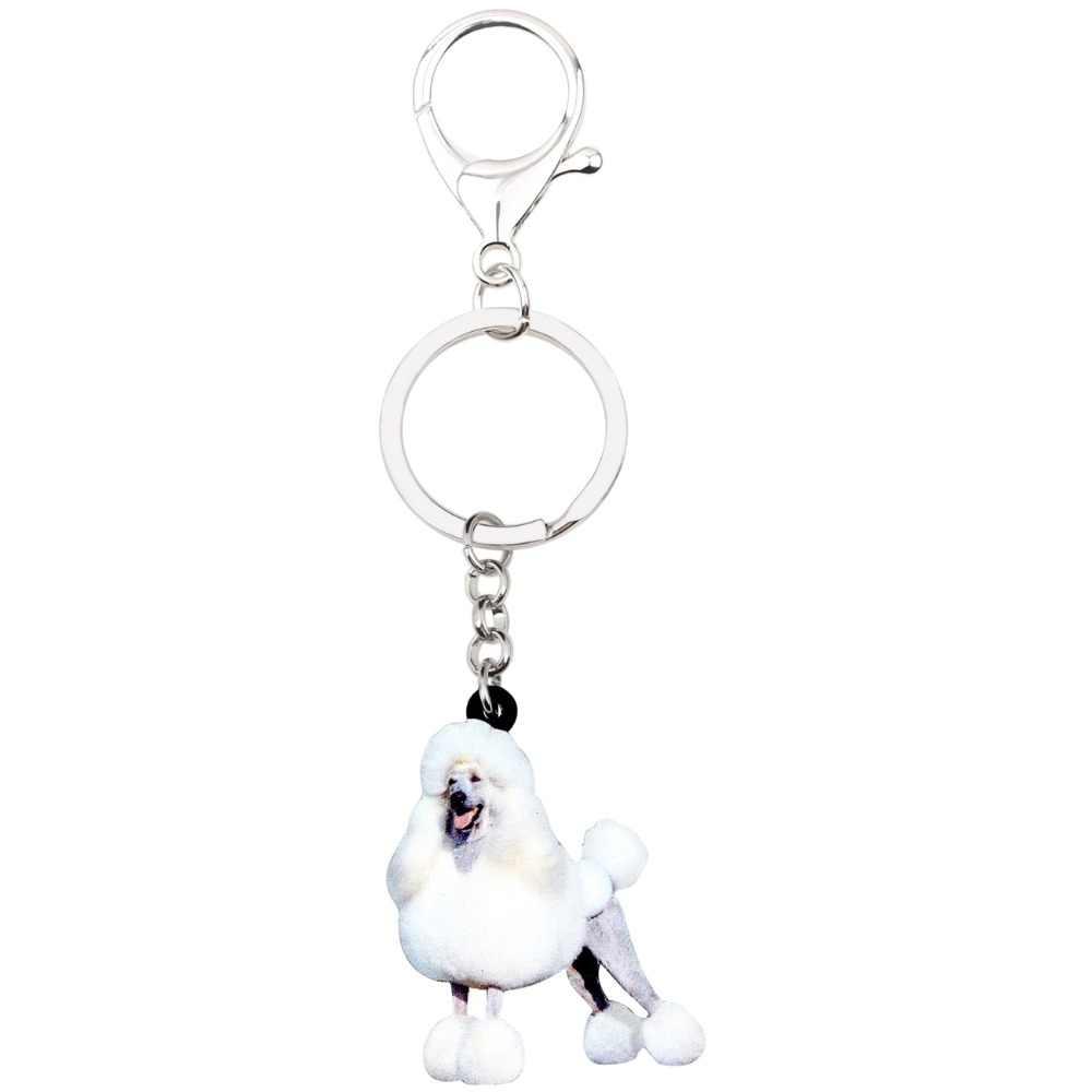 Bonsny Bildirimi Akrilik Mutlu Kaniş Köpek anahtar zincirleri Anahtarlık Yüzük Karikatür Takı Için Kadın Kızlar Çanta Araba Çanta Takılar Pet