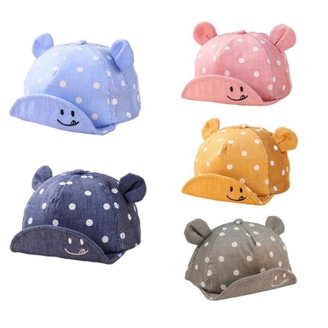 b826a98ef69b55 5 Colors Kids Newborn Toddler Baby Summer Breathable Caps Girl Boy Snapback  Cute Cap Dots Little Ear Fashion Hats