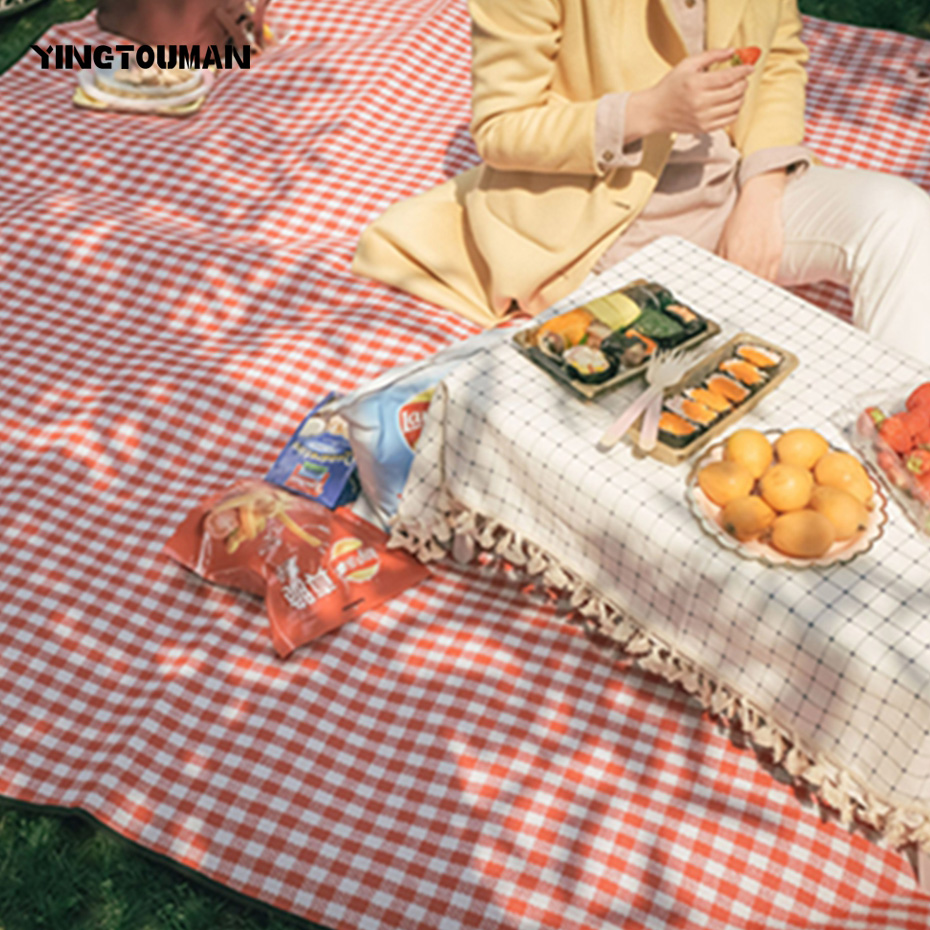 YINGTOUMAN 200*200/300cm Outdoor Picnic Mat Beach Camping Baby Climb Plaid Blanket Waterproof Moistureproof Picnic Blanket waterproof outdoor blanket picnic beach blanket mat rug s m l