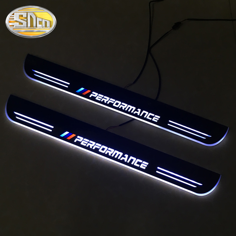 SNCN Waterproof Acrylic Moving LED Welcome Pedal Car Scuff Plate Pedal Door Sill Pathway Light For