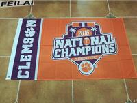 1981 And 2016 Two Time Football National Champions Clemson Tigers Flag With Metal Grommets