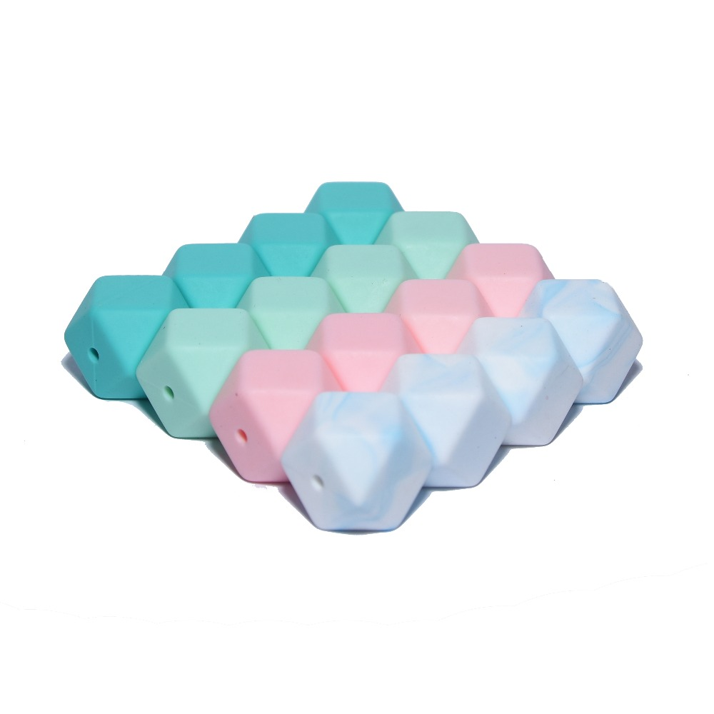 17mm Hexagon Bead Happyfriends 10Pcs  Silicone Beads Teething Baby Teether DIY Toy Baby Shower Gift Necklace Pacifier Chain Clip