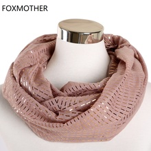 FOXMOTHER New Design Foulard Femme Leightweight Foil Gold Plaid Striped Print Scarf Ring Snood Loop Scarves Women Gifts