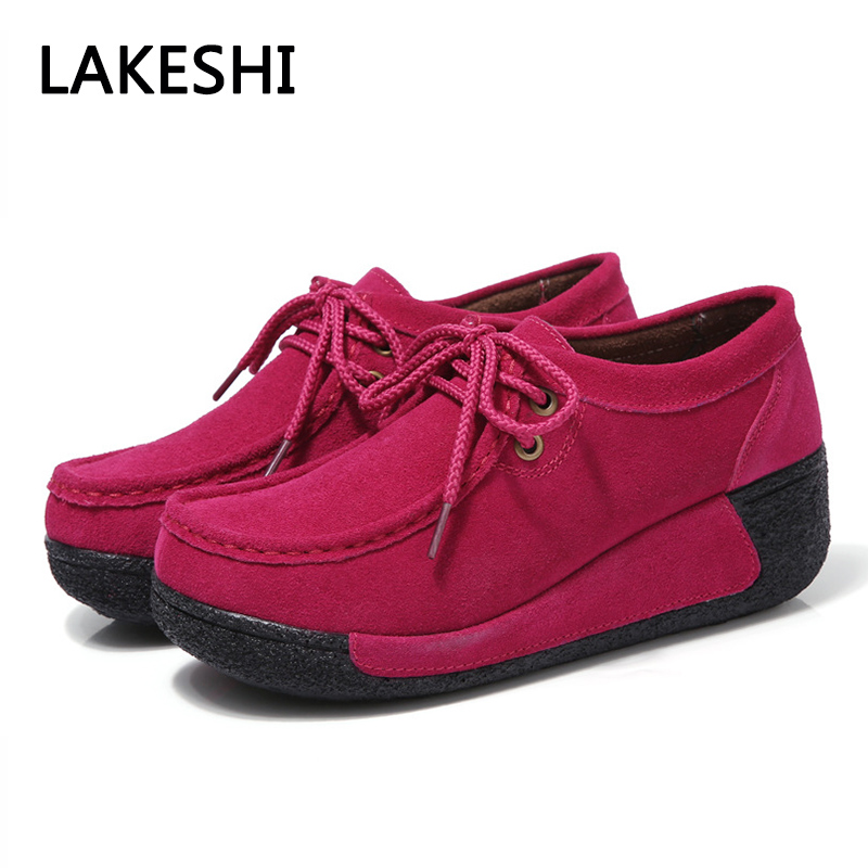 Women Casual Shoes Platform Women Shoes Ladies Lace Up Height Increasing Suede Creepers women harajuku cartoon lace up wedges platform shoes 2015 casual shoes trifle thick soled graffiti flat shoes ladies creepers