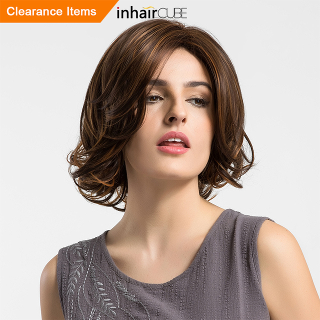 Esin Shoulder Length Wigs Highlight Dark Brown Centre Parting Curly Ends  Natural Short Hair Wig with Inclined Bangs for Women dc3ffe2dc8