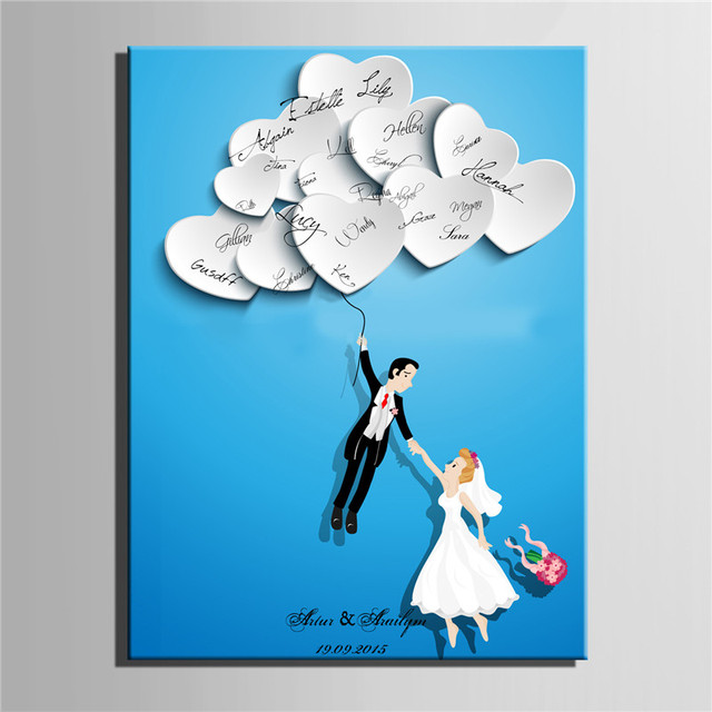 personalized canvas wedding guest book wedding decor decorations mariage decoration event party supplies boda - Aliexpress Decoration Mariage