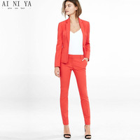 2017 New Female Elegant Pant Suits Formal Work Wear Women S Long Sleeve Blazer With Trousers