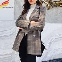 Blazer Women Fall 2018 Korean Style High Quality Office Lady Plaid Blazer Notched Collar Button Women Blazers And Jackets