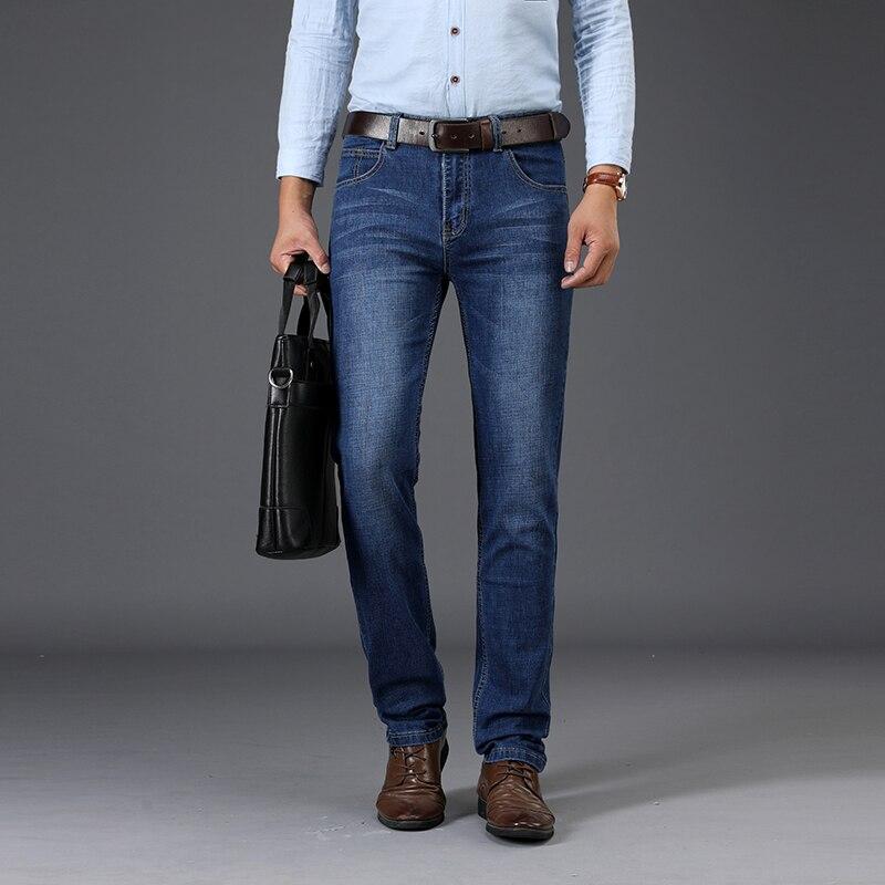 Sulee Pantalones Vaqueros Rectos Informales Para Hombre Jeans De Negocios A La Moda Color Azul Oscuro Talla Grande Pantalones Vaqueros Aliexpress
