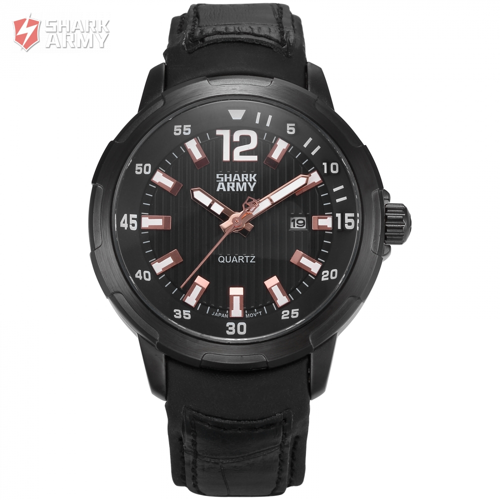 Fashion Shark Army Luxury Watch Men Military Wristwatch Auto Date Leather Strap Relogio Clock Men Sport Wrist Watch Gift /SAW157 voodoo ii shark army auto date black silicone strap military wristwatch sports clock men military quartz wrist watches saw177