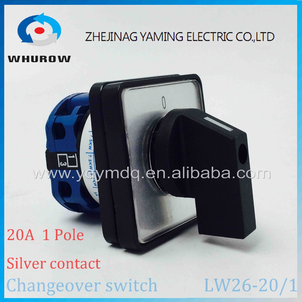 LW26-20 Rotary switch knob 2 position 0-1 ON-OFF High quality changeover cam switch Ui 690V Ith 20A 1 pole 4 terminals