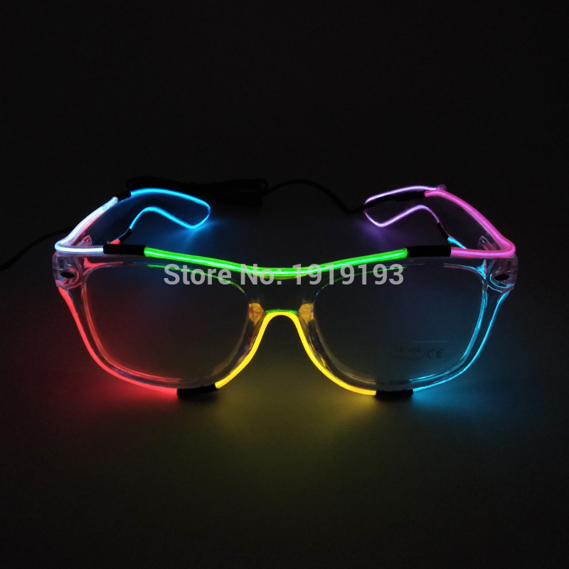 Us 8 11 39 Off Masquerade Decor Led Strip Neon Diy Fluorescent Glasses Colorful Rave Clothing Accessory Light Up Night Party Eyeglasses By Dc3v In