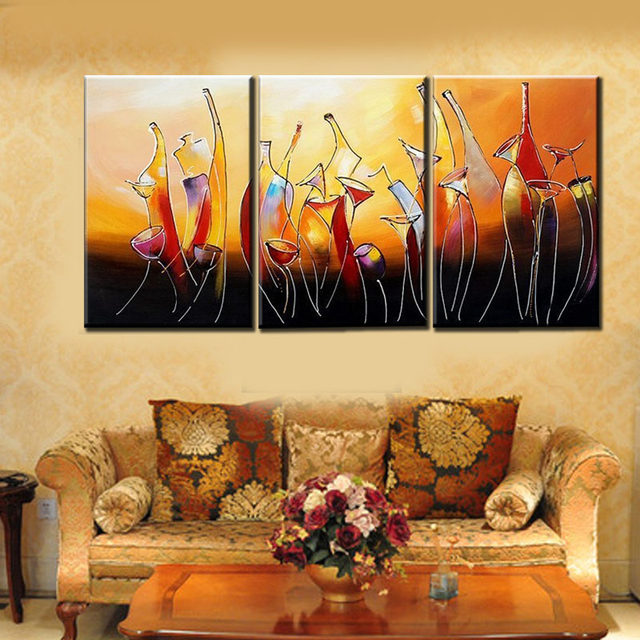 Online Shop Hand Painted Modern Abstract Bottle Wine Oleo 3 Panel ...