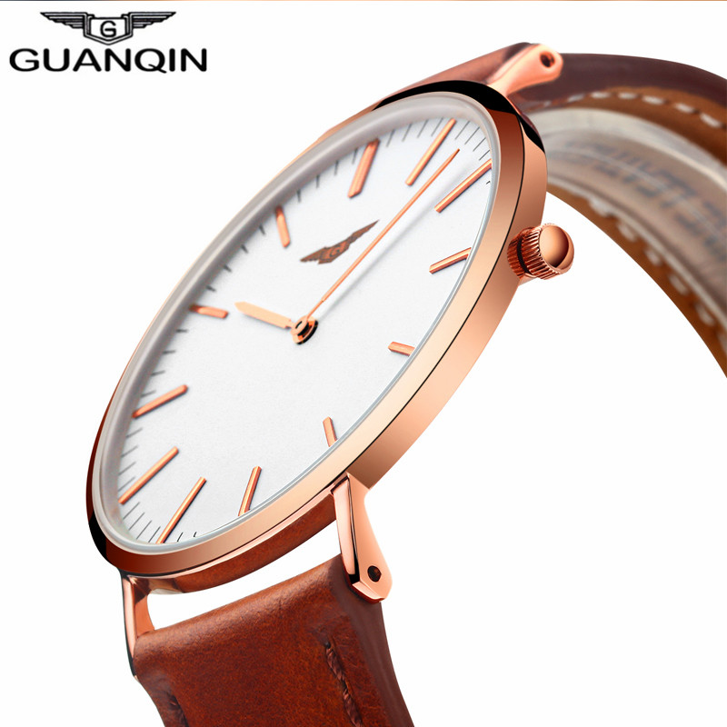GUANQIN Fashion Men Watch Luxury Märke Ultra Thin Quartz Watch Men Enkel Vattentät Läder Rem Armbandsur Relogio Masculino