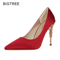 Metal Thin High Heels Women Pumps Shallow Pointed Toe Shiny Sequins Woman Party Shoes W09219 2